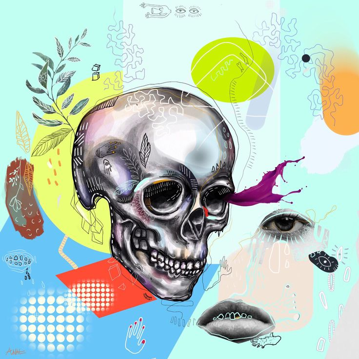 ' Passive death '   #artprint#digitalart#brightcolors #drawing#collage#skull#life#death#finearts#anaeart#composition