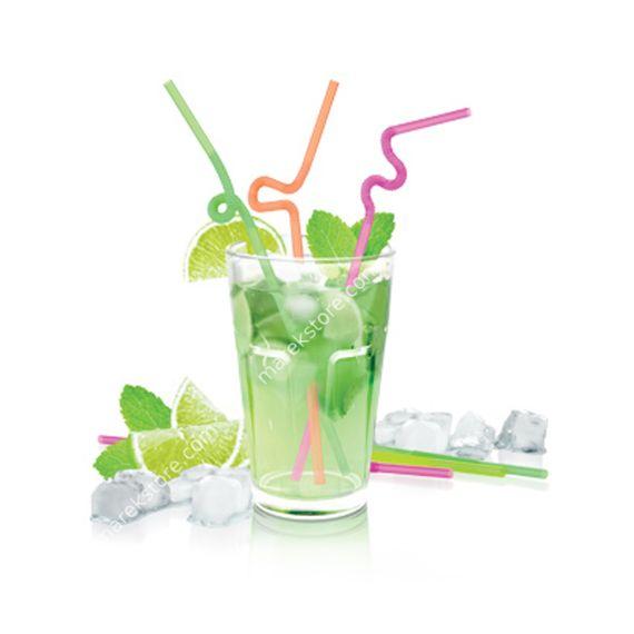 Słomki łamane długie do serwowania napojów i drinków - komplet 40 szt.