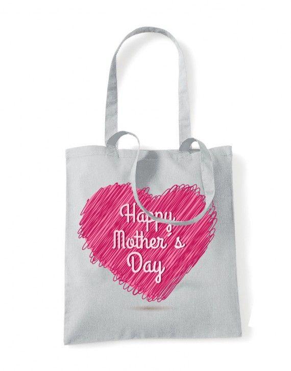Shopper in cotone manici Lunghi festa della mamma mother day HEART MUM-06