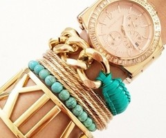 gold and turquoise arm partyColors Combos, Fashion, Style, Gold Watches, Michael Kors Watches, Accessories, Gold Jewelry, Arm Candies, Arm Parties