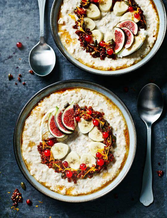 Vanilla porridge with toasted buckwheat and ricotta