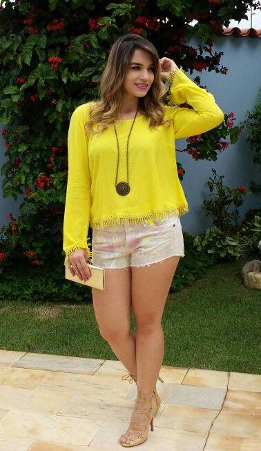 #Style #ModaFeminina #Short #Yellow #Amarelo #Summer #Boho #Gipsy #Love #Moda #Estilo #Thenácy