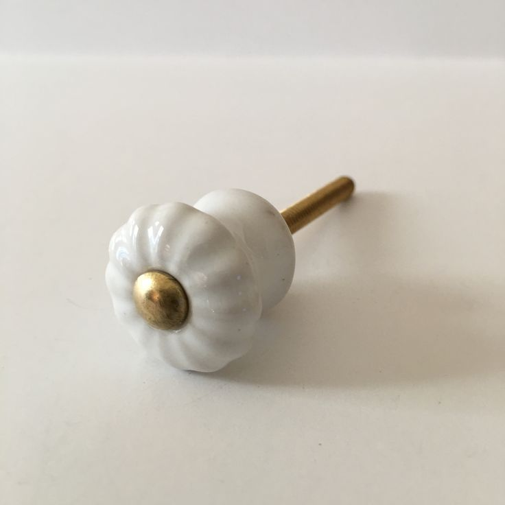 Mini Scalloped White Porcelain Cabinet Knobs Small Drawer Pulls 7/8 Inch