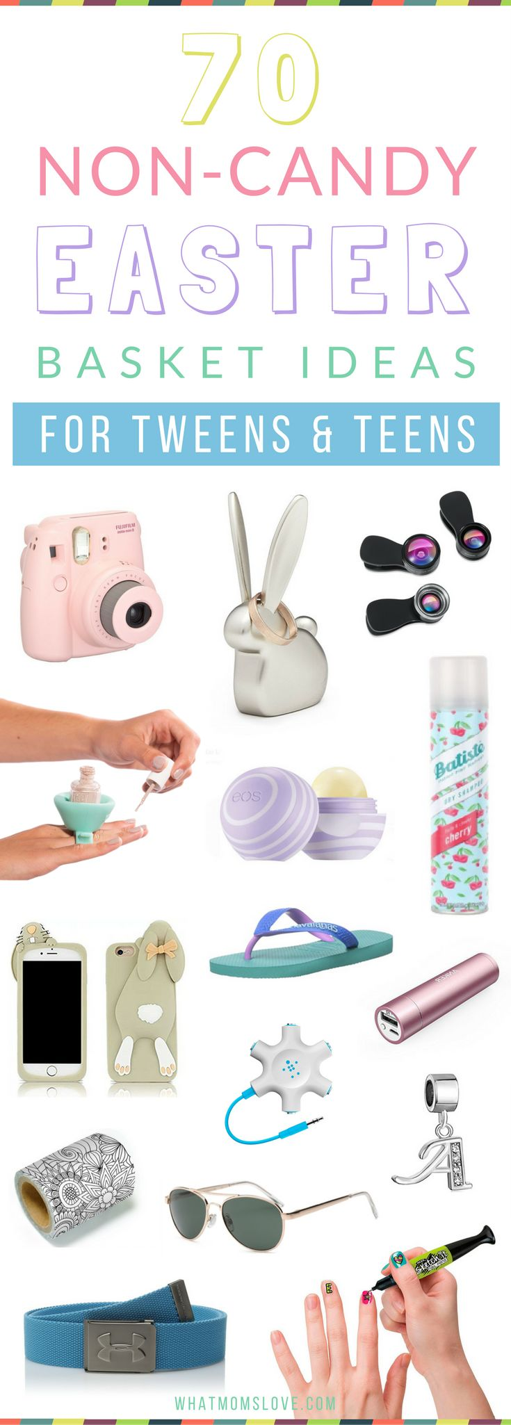 Non Candy Easter Basket Ideas for Tweens and Teens   Includes unique and creative tech gifts, useful items, games, beauty, fashion and more! Great for those hard to buy for teenage girls and boys! Check out the full list at whatmomslove.com