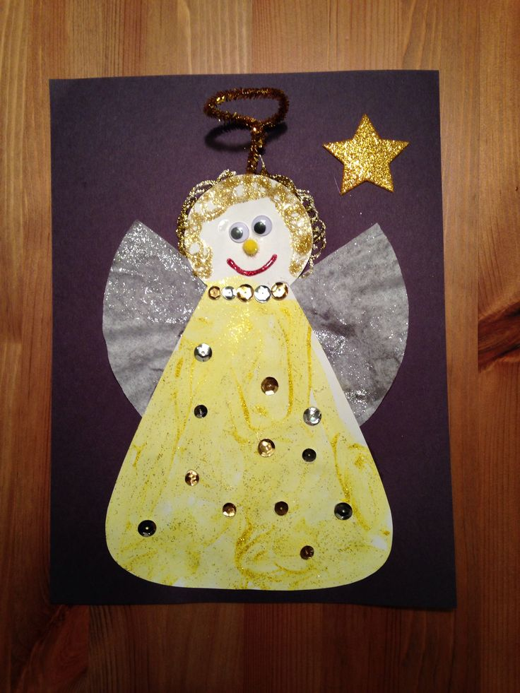 Angel Craft - Christmas Craft - Preschool Craft - painted with gold and silver glitter paint