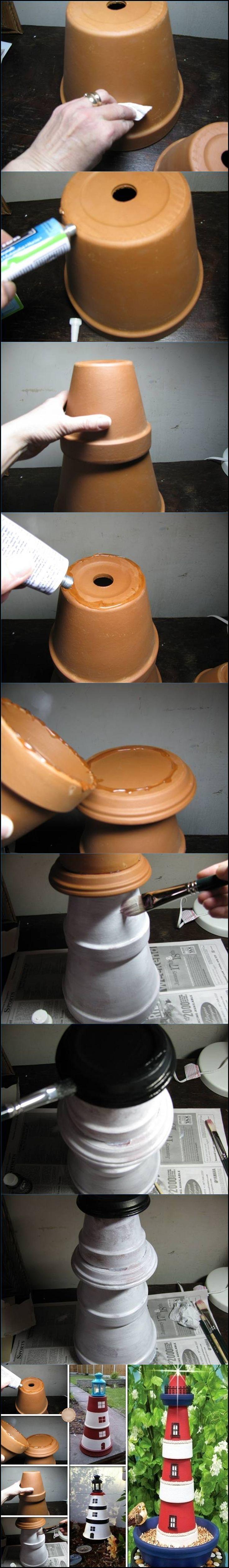 Décoration jardin :Un phare fait en pots.