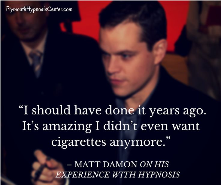 Matt Damon on quitting smoking through hypnosis. Learn how hypnosis can really help you stop smoking. More ex-smoker testimonials here >> http://www.plymouthhypnosis.com/clients/ex-smokers/  #health  #smoking   #HowTo   #stopsmoking  #hypnosis  #mattdamon