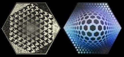 Hexagons. Escher / Vasarely.