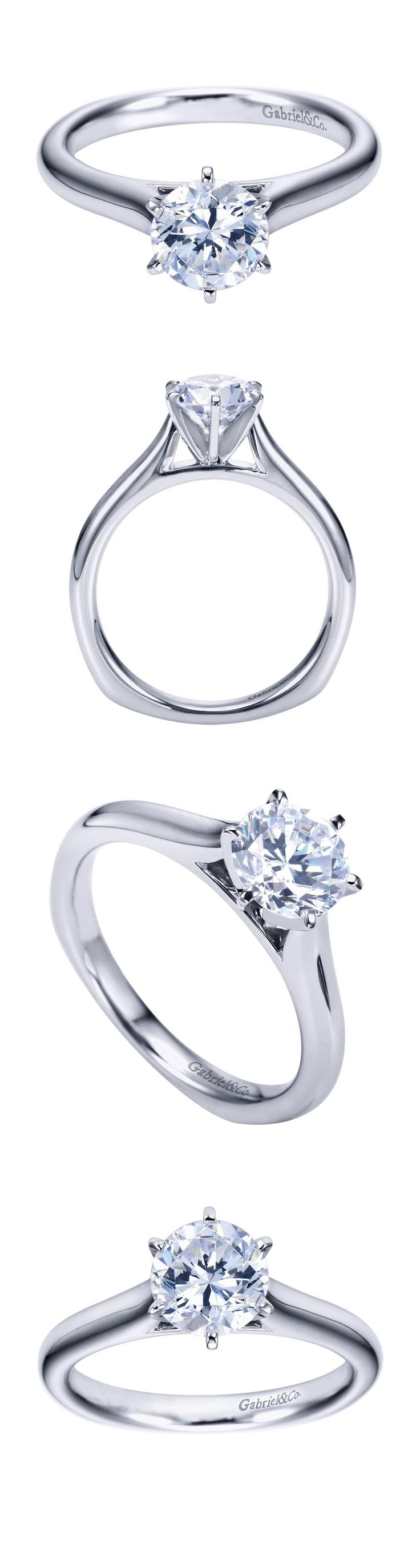 Gabriel & Co. - For the only one, a 14k White Gold Contemporary Solitaire Engagement Ring.