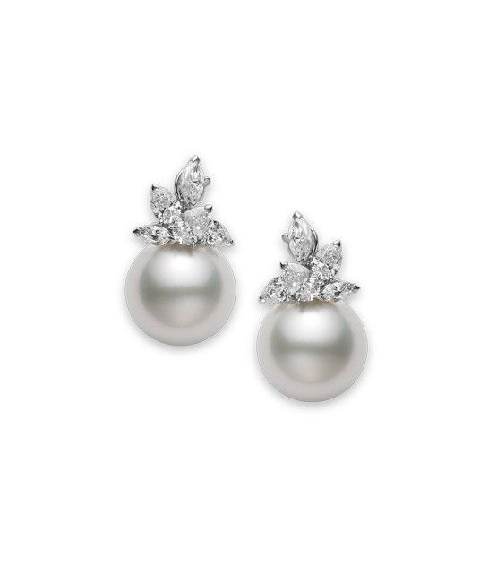 Emily Earrings | Mikimoto America. 16mm White South Sea Cultured Pearl and 3.67ct of Diamonds set in Platinum -