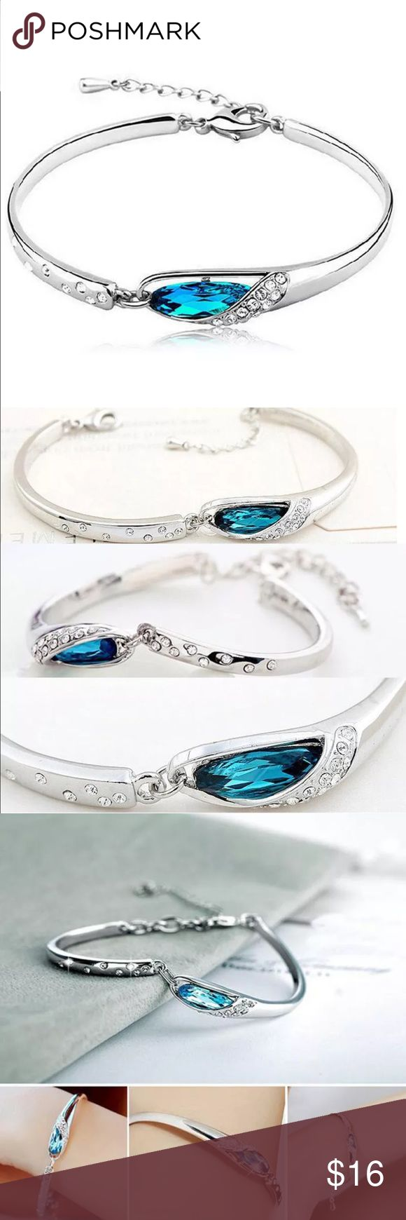 ✨NEW✨Silver & Crystal Adjustable Bangle Bracelet Sophisticated and Delicately Crafted Silver & Crystal Ladies Bangle Bracelet. Beautiful addition to any wardrobe where you'd like to add a little style. Bracelet is size adjustable.    Colour: Silver plated  Material: Alloy, Crystal  Chain length: 20+6cm/7.87+2.36in  Packing: 1 pc Bracelet Jewelry Bracelets