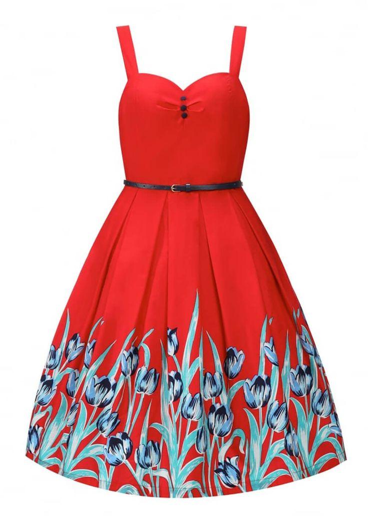 Lindy Bop Bernice Tulip Swing Jurk Rood