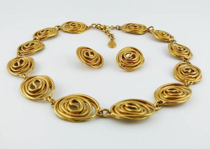 Balenciaga Vintage Goossens Spiral Necklace and Earrings Set 1980