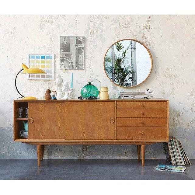 849€ - Buffet vintage, 2 portes, 4 tiroirs, Quilda La Redoute Interieurs - Longueur : 175 cm, Hauteur : 76 cm, Profondeur : 45 cm