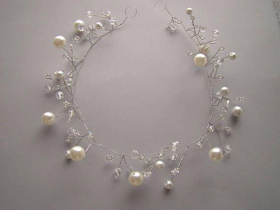 Wedding hair vine, hair vine jewelry, hair vine pearls, bridal headband, bridal headpiece, silver wedding crown, silver wedding tiara
