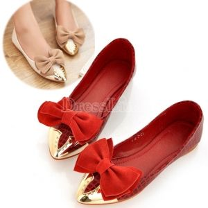 Ladies Splicing Bowknot Pointy Toe Flats in 3 Colors