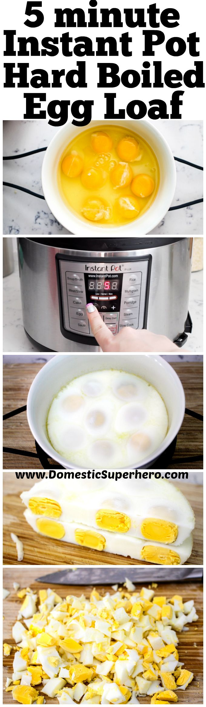 In five minutes make a whole bunch of hardboiled eggs which are perfect for egg salad! No peeling or ice bath for this Instant Pot Hard Boiled Egg Loaf!