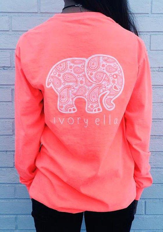 e83544925 Pink Ivory Ella Berry Paisley Elephant Pocket Print Long Sleeve Cute Casual  Sweatshirt