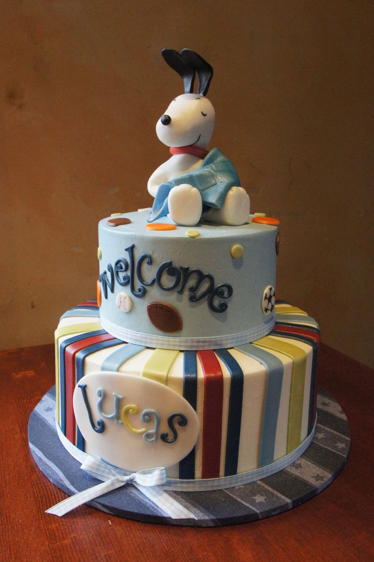 Snoopy baby shower cake  Baby Shower Cakes in 2019  Baby