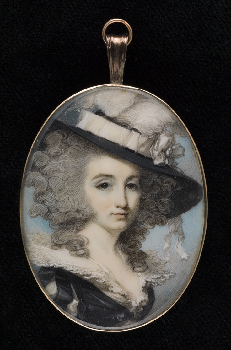 A Lady called Mrs. E. Monro, wearing black dress with sleeves slashed to reveal white, white lace collar, a wide-brimmed plumed hat over her powdered hair, George Engleheart