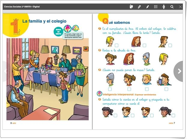 """Unidad 1 de Ciencias Sociales de 1º de Primaria: """"La familia y el colegio"""" (Anaya + Digital)"""