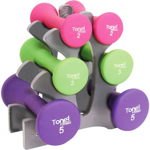 Tone Fitness 20 lb Hourglass Shaped Dumbbell Set with Rack, Neoprene Dumbbell Set, 20 Lb Dumbbell Set