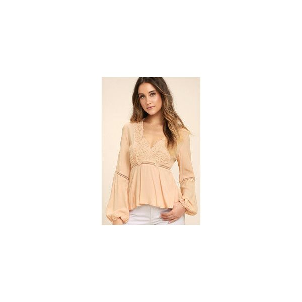 Free to Frolic Peach Lace Long Sleeve Top ($47) ❤ liked on Polyvore featuring tops, lace top, crochet lace top, v neck long sleeve top, v-neck tops and beige long sleeve top