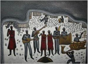 Alfred Thoba (b 1951). MIRIAM MAKEBA UNDERGROUND 2008. Oil on board, 70 x 88cm.