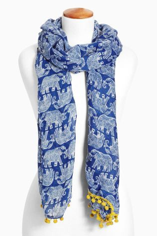 Buy Blue Elephant Print Scarf from the Next UK online shop