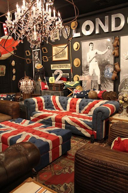 British living room, Love the print and the union jack couch and ottoman.