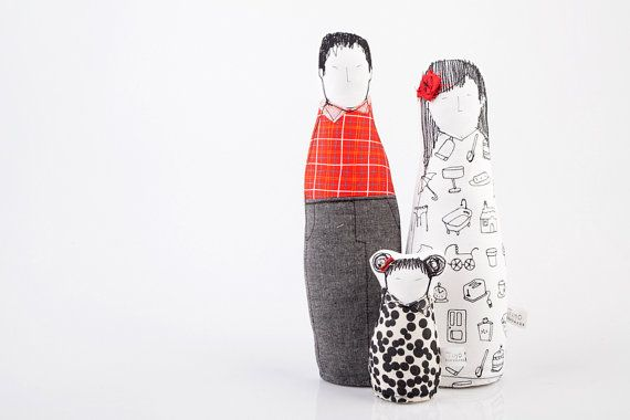 Family portrait dolls - Couple with slanted eyes and a little girl ,in black white and red , soft sculpture timo- handmade fabric eco dolls