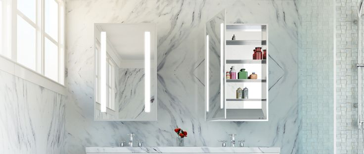Ascension Mirrored Cabinet w/ marble background