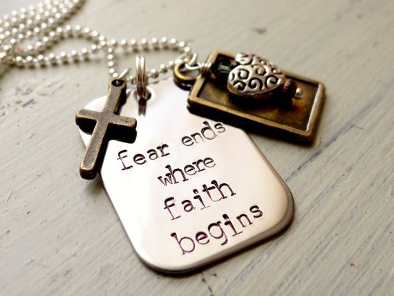 Fear Ends Where Faith Begins Necklace. Personalized Necklace with Cross, Heart, Believe Charm. Faith Jewelry. on Etsy, $34.00