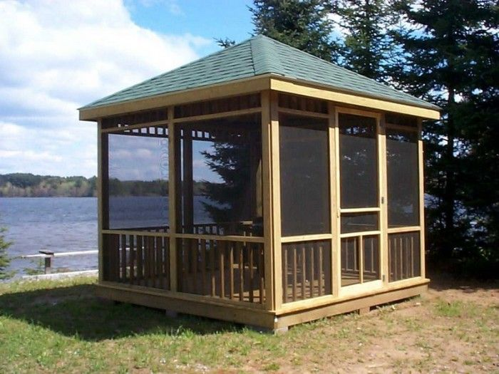 Building screened gazebo screened gazebo plans porch for Gazebo house plans