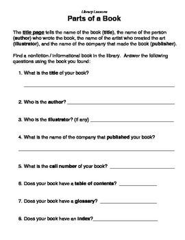 PARTS OF A BOOK - LIBRARY LESSONS - TeachersPayTeachers.com