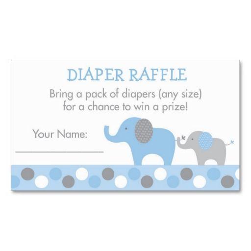 Blue Elephant Diaper Raffle Tickets Business Card Templates