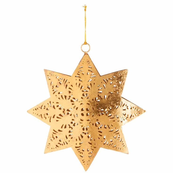 Vasból készült arany karácsonyfadísz