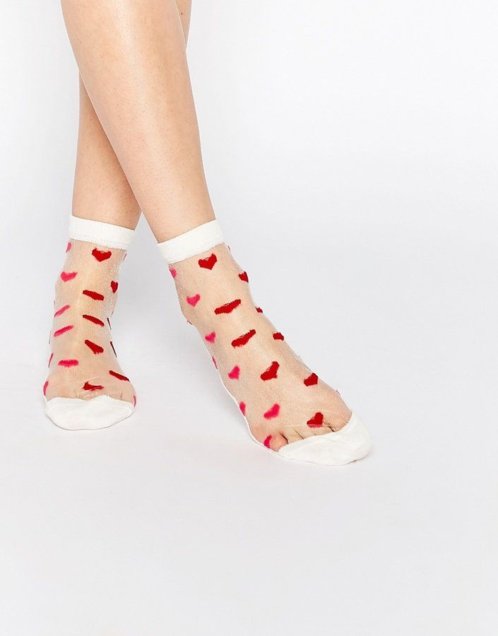 Pin for Later: Indulge the Lady in Your Life With These Valentine's Day Treats Asos Valentines Sheer Heart Ankle Socks (£3)