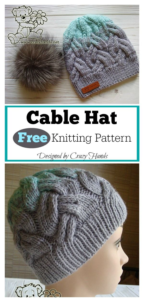 f4d7446abab Cable Hat Free Knitting Pattern  freeknittingpattern  beaniehat  cableknit