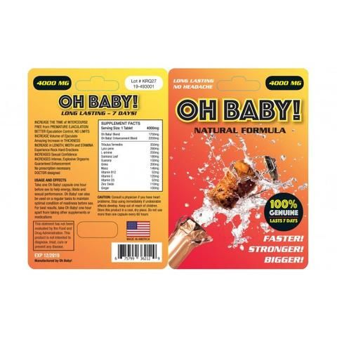 Oh Baby! Performance Pill - Oh Baby Erection tablets – Natural Formula, 100% Genuine and last for up to 4 days.