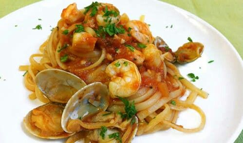 Seafood pasta. Christian's dinner made by Gail Jones