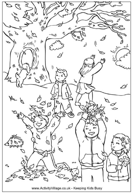 Children catching leaves in autumn coloring page