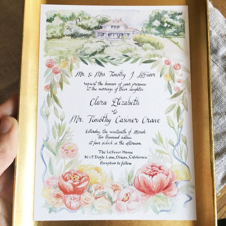 sister wedding invitation card wordings%0A Items similar to Handpainted Custom Wedding Invitation Design on Etsy
