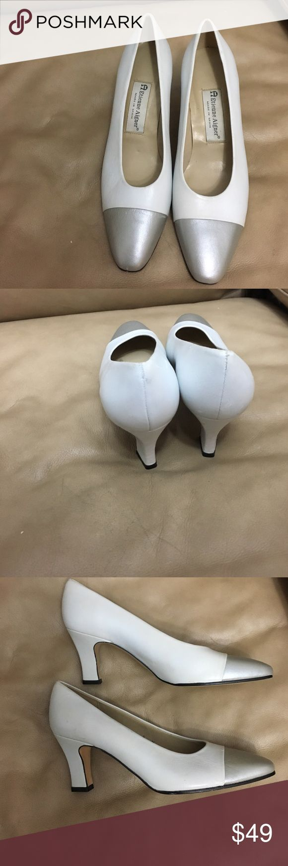 """Etienne Aigner Heels  Sz 8 M Two Tone Marietta Two tone- white & silver Shoes will be shipped without the original box Shoes are new but have some marks from storage. Please look at pictures.  Us Size 8M.. Heels are aproxímate 2 1/4"""" high Etienne Aigner Shoes Heels"""