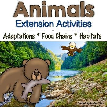 """Fun and engaging extension activities for your Animals Unit! Students will love learning about Animal Adaptations, Food Chains and Habitats with sorts, graphic organizers, Venn diagrams, Interactive Notebook activities, animal riddles, PLUS an exciting """"I Have, Who Has?"""" review game!"""