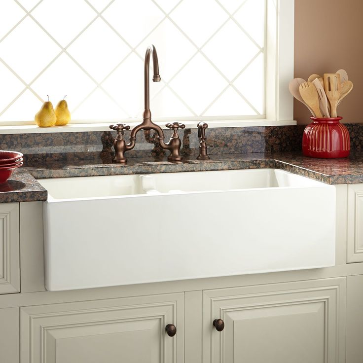 "36"" Risinger 60/40 Offset Bowl Fireclay Farmhouse Sink - Smooth Apron - White - Farmhouse Sinks - Kitchen Sinks - Kitchen"