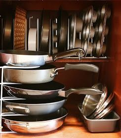 Six Kitchen Organizing Secrets - use dividers or tiered shelves to store items - use back of pantry doors for grocery lists, menu planning, corkboard (coupons), whiteboard (hospitality list), etc. - make a plan before organizing and buying items: stick sticky notes on cabinets listing items you'll store there and organizational items you will need   -