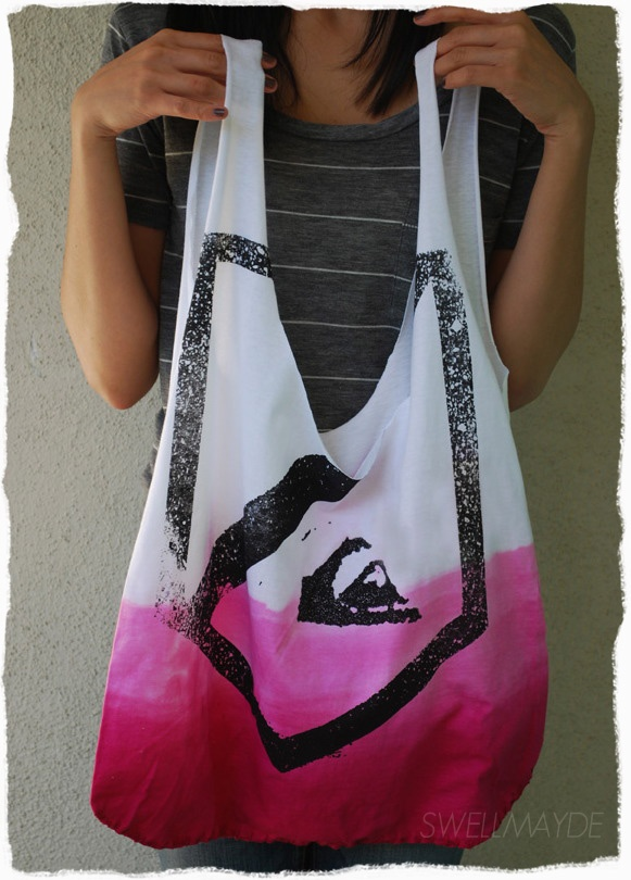 diy t-shirt to dip-dyed tote bag  ~~ JUST TUCK BOTTOM SEEM IN AND SEW?~~