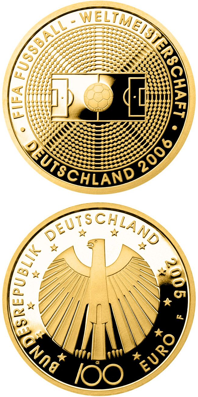 100 euro: FIFE-Fußballweltmeisterschaft Deutschmark 2006.Country:Germany Mintage year:	2005 Issue date:	04.10.2005 Face value:	100 euro Diameter:	28.00 mm Weight:	15.55 g Alloy:	Gold Quality:	Proof Mintage:	350,000 pc proof Design:	Heinz Hoyer, Erich Ott Mint:	A,D,F,G,J Issue price:	222,00 Euro