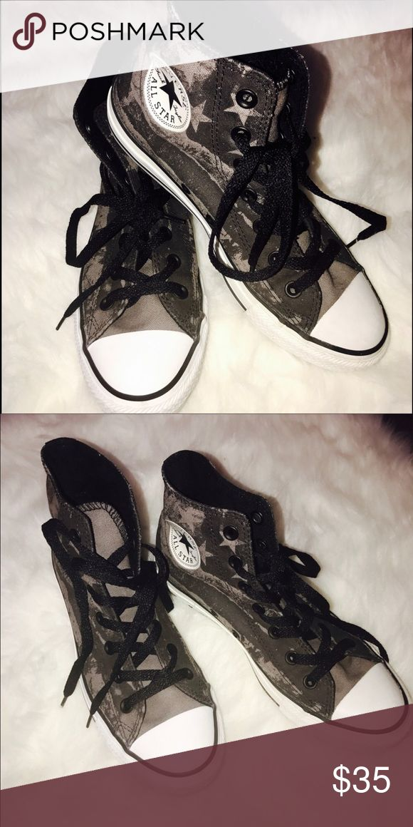⚡️Sale⚡️ converse high top Used 4 times in good condition gray and black ing color with American flag design ❌no low ball                                                               ❌no returns.                                                                   👍🏼accept reasonable offers.                                           📪fast shipping Converse Shoes Sneakers